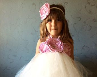 Floral Princess Tulle Dress & Head Piece- Made to Order- Baby Girls- Children- First Birthday- Photoshoot