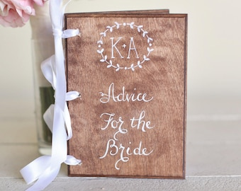 Bridal Shower Guest Book Advice For The Bride Calligraphy Wedding Engagement Gift