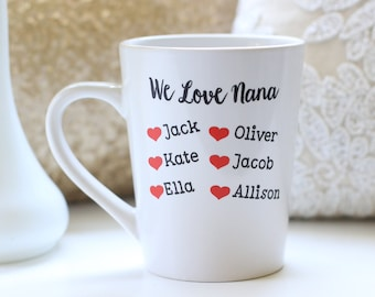 Personalized Gift For Grandma Custom Mug With Grandkids Names Christmas Gift Mother's Day Gift (NVMHDAY0838)