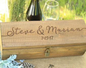 Personalized Engraved Locking Wine Box Custom Keepsake Time Capsule Wedding Gift Storage