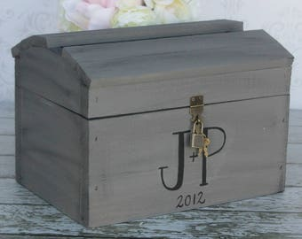 Wedding Card Box With Lock & Key Custom Made Bridal Shower Engagement Party Housewarming