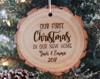 our first christmas in our new home personalized rustic wood christmas ornament housewarming party engraved - Rustic Christmas Ornaments