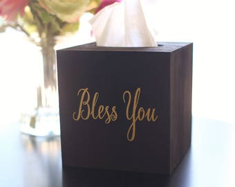 Bless You Tissue Box Cover Home Decor Gold and Black Boss Office Gift For Her Office Decor NVMHDAY0068
