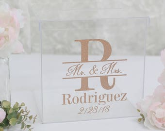 Personalized Wedding Card Box Clear Acrylic Modern Bridal Shower Engagement Party QUICK shipping  (1282899775)
