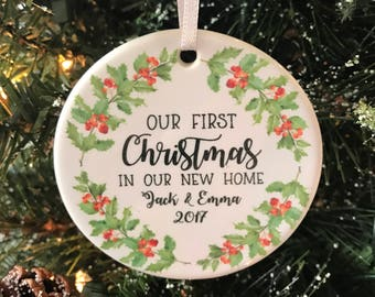 Our First Christmas In Our New Home Personalized Christmas Ornament Housewarming Party
