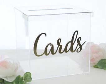 Clear Wedding Card Box Plastic Acrylic Modern Bridal Shower Engagement Party Baby Shower Birthday Party QUICK shipping (CLBOX101)