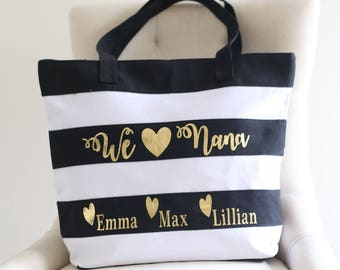 Personalized Gift For Grandma Tote Bag Black White Gold Grandchildren Christmas Gift Mothers Day Present