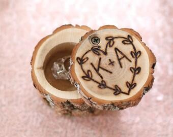 Personalized Rustic Wood Ring Bearer Pillow Box Alternative Tree Stump Laurel Wreath (NVMHDAY0281)