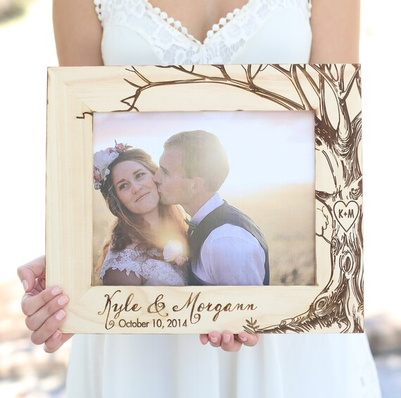 Personalized Rustic Wood Frame Bridal Shower Gift Wedding Present Engraved Wood Tree With Initials First Christmas (Item Number MHD20032)