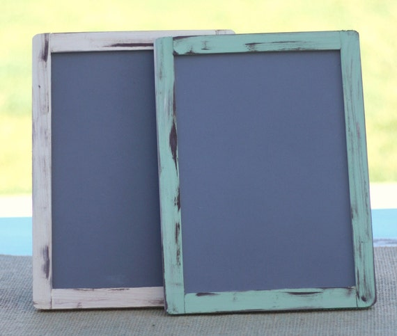 Rustic Wedding Set of TWO Large 7x10 Chalkboards Custom Distressed Paint
