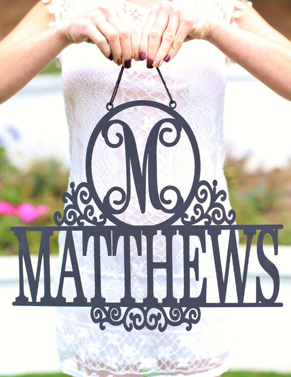 Personalized Sign with Monogram and Last Name Wedding Gift Bridal Shower SHIPS QUICK (Item NVMHDAY2053)
