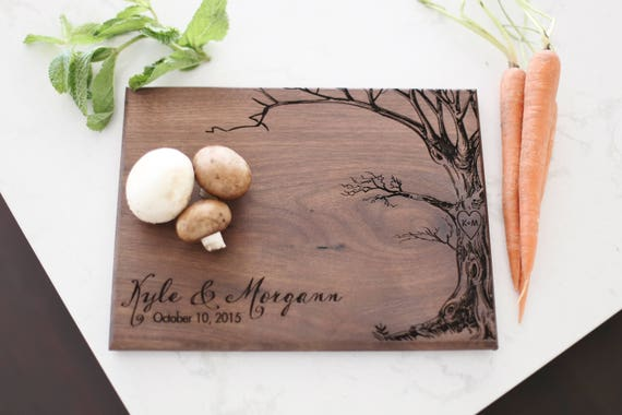 Personalized Cutting Board With Tree Wedding Gift Personalized Gift Housewarming Gift Bridal Shower Gift Anniversary Gift For The Couple