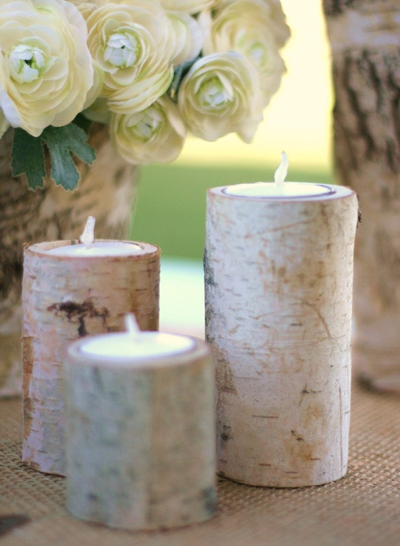 set of Birch Candle Holders, Christmas Candle Holder, Wedding Centerpiece