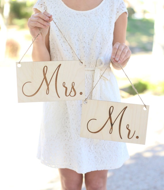 Mr & Mrs Wedding Chair Signs Rustic Barn Wedding Engraved Wood Sign (MHD012)