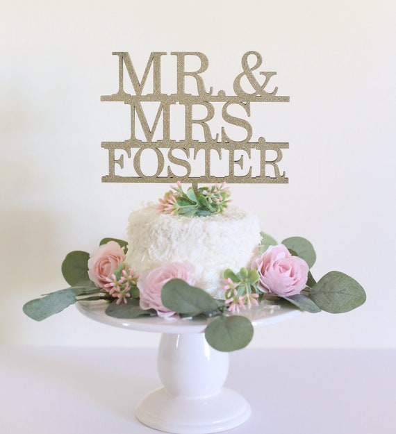 Cake Topper Personalized Cake Topper Gold Cake Topper Cake Topper For Wedding Bridal Shower Cake Topper Calligraphy Cake Topper Mr. and Mrs.