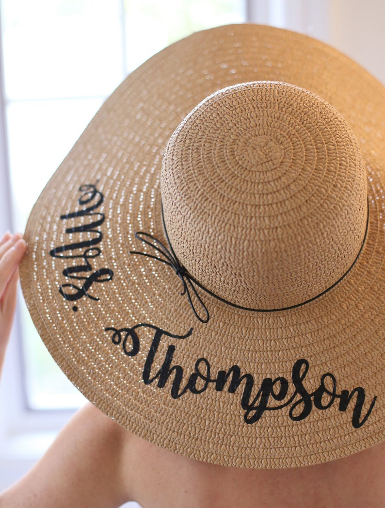 Personalized Bridal Shower Gift Personalized Wedding Gift Personalized Floppy Hat Personalized Sun Hat Personalized Gift Custom Hat