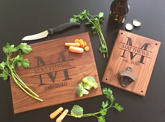 Personalized Cutting Board AND Bottle Opener Set Bridal Shower Gift Wedding Present Christmas Gift Housewarming Gift Cutting Board (EEBB205)