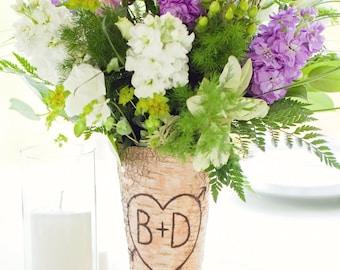 Personalized  Birch Bark Centerpiece Vase Rustic Wedding (Item Number 140166)