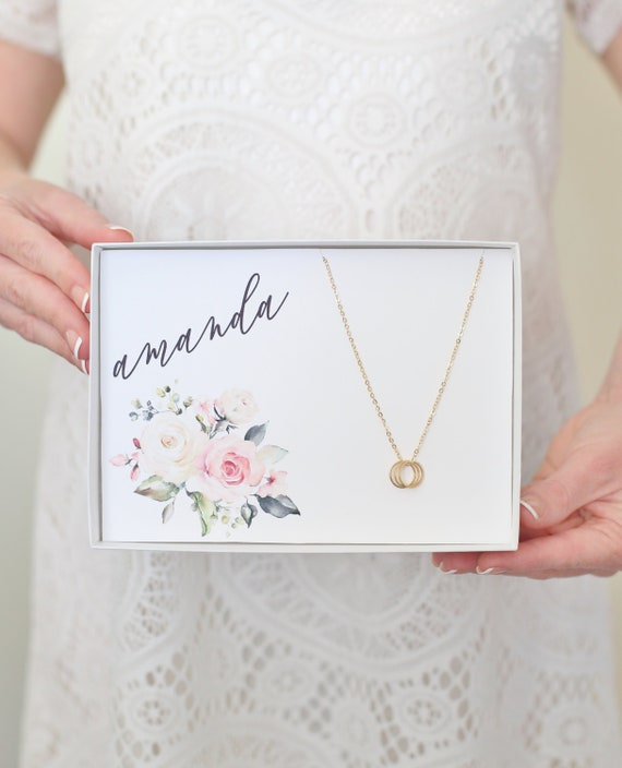 Personalized Gift / Personalized Necklace / Personalized Birthday Gift / Gold Circle Necklace / Personalized Bridesmaid Gift / Gift For Her