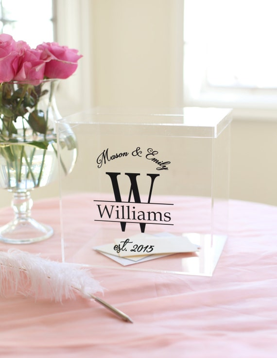 Personalized Wedding Card Box Clear Card Box Acrylic Card Box Wedding Card Box Bridal Shower Card Box Engagement Party Card Box (EEBB200)