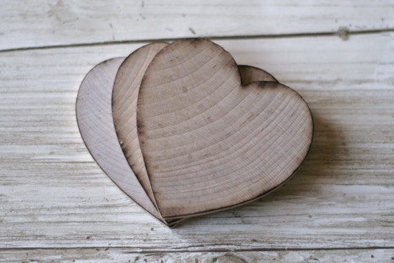 50 Thick Wood Hearts