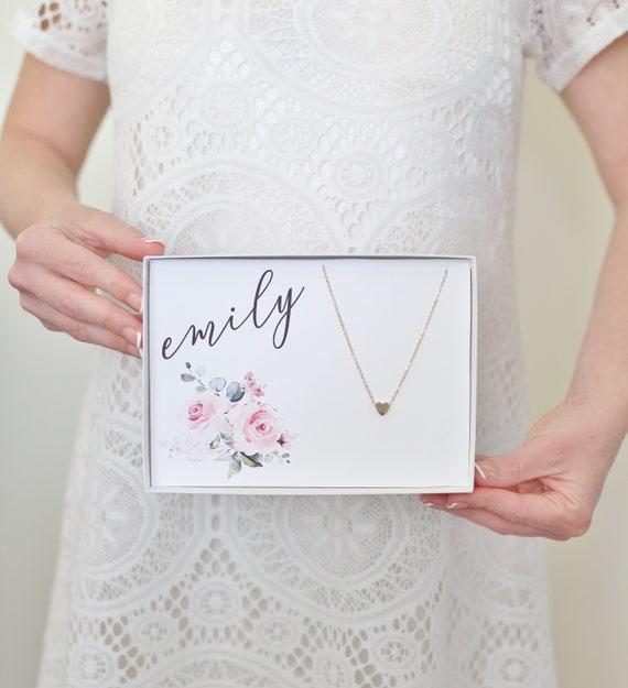 Personalized Gift / Personalized Necklace / Personalized Birthday Gift / Tiny Heart Necklace / Personalized Bridesmaid Gift / Gift For Her