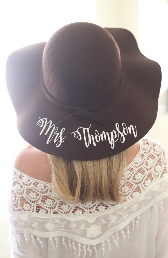 Personalized Floppy Hat Personalized Winter Hat Personalized Hat Personalized Honeymoon Hat Personalized Bridal Shower Gift Wedding Gift