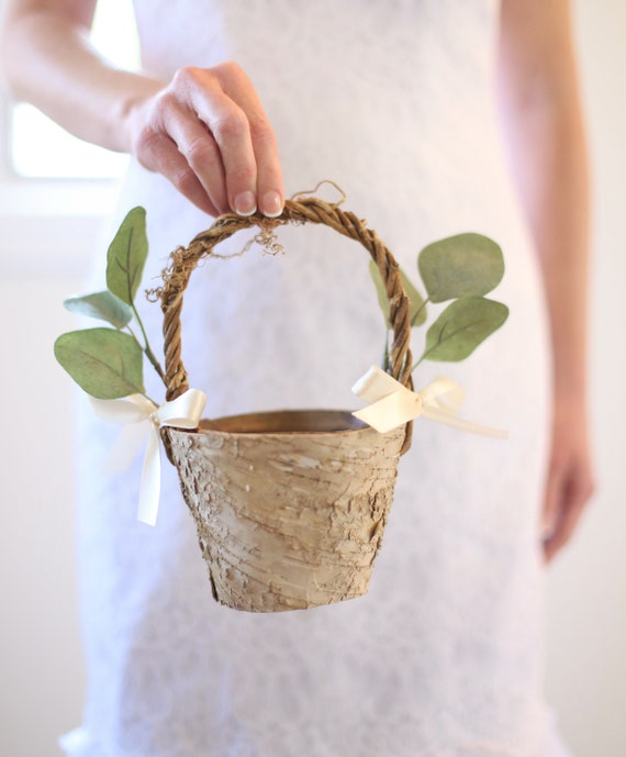 Flower Girl Basket Rustic Flower Girl Basket Rustic Wedding Decor Rustic Wedding Eucalyptus Wedding Birch Flower Girl Basket SMALL