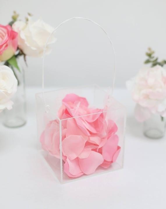 Clear Flower Girl Basket Acrylic Wedding Modern Simplistic Plastic Glass Look (BBND20181)