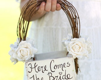 Here Comes The Bride Flower Girl Basket Rustic Country Wedding (Item Number MHD20231)
