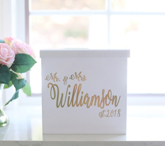 Personalized Wedding Card Box Personalized Card Box White Acrylic Modern Bridal Shower Card Box Engagement Party Anniversary Party
