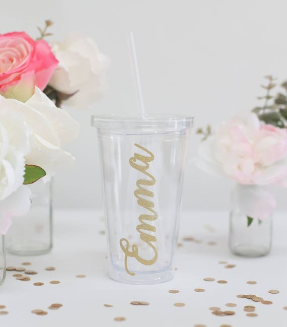 Personalized Drink Tumbler Bridesmaid Gift Bridesmaids Proposal Box Bridal Shower Wedding Present Birthday Flower Girl MIL gold (BBND20186)