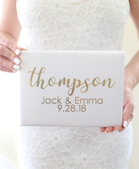 Wedding Guest Book Personalized Guest Book Bridal Shower Guest Book Gold Guest Book Personalized Wedding Guest Book Gold Calligraphy