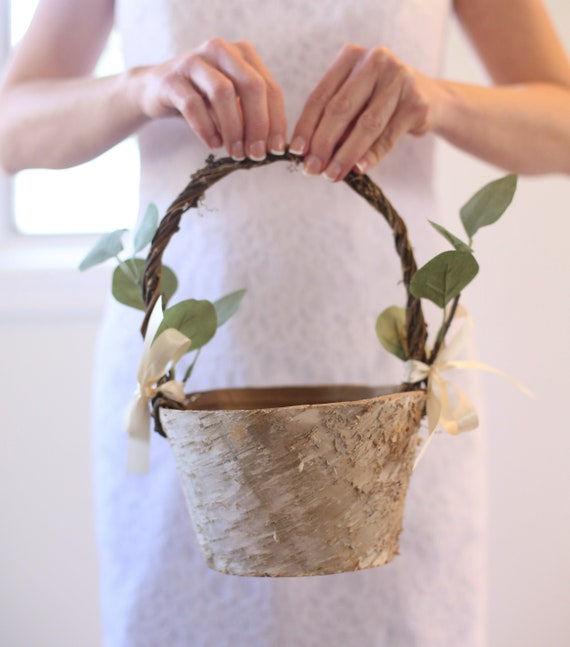 Flower Girl Basket Rustic Flower Girl Basket Rustic Wedding Decor Rustic Wedding Eucalyptus Wedding Birch Flower Girl Basket LARGE