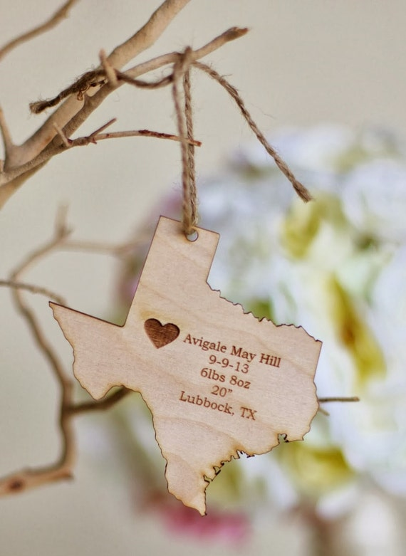 Personalized Babies First Christmas Ornament Engraved Wood Rustic Chic Holiday Decor Keepsake Ornament Gift (MHD006)