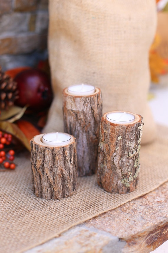 Rustic Wood Candle Holders Wedding Decor Thanksgiving Christmas Holiday Party Gift Housewarming