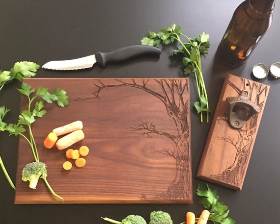 Personalized Cutting Board AND Bottle Opener Set Anniversary Bridal Shower Gift Wedding Christmas Present  (EEBB211)
