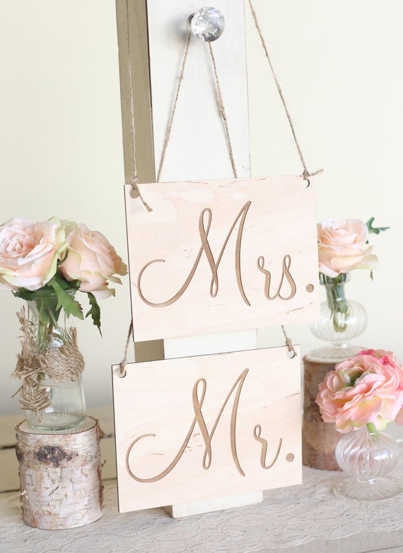 Rustic Chair Signs Wedding Chair Signs Mr. and Mrs. Chair Signs Calligraphy Country Barn Wedding
