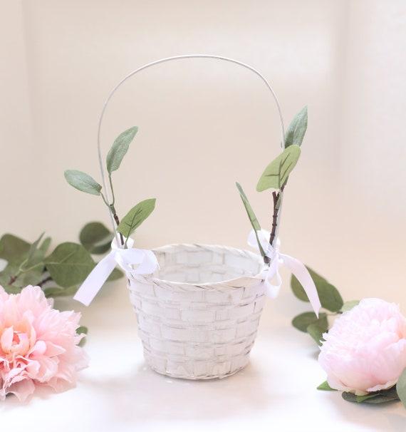 Flower Girl Basket Rustic Flower Girl Basket Rustic Wedding Decor Rustic Wedding Eucalyptus Wedding White Flower Girl Basket