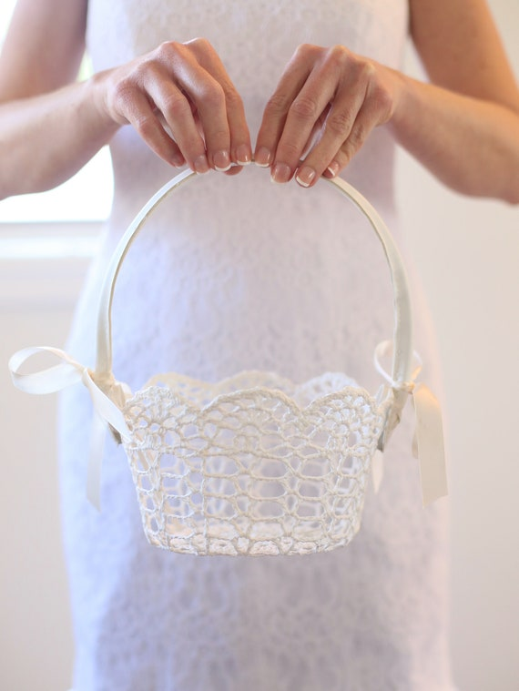 Lace Flower Girl Basket Flower Girl Basket Crochet Lace Flower Girl Basket Simple Flower Girl Basket Classic Wedding Simple Wedding CUSTOM