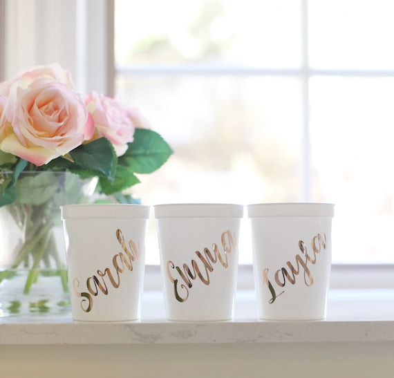 Personalized PLASTIC Cups Personalized Wine Glasses Personalized Tumblers Bridal Shower Glasses Personalized Bridesmaids Gifts Bachelorette