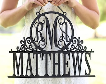 Personalized Newlywed Sign with Monogram and Last Name Wedding Gift Decor (Item NVMHDA1453)