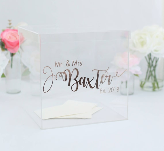 Personalized Wedding Card Box Clear Acrylic Wedding Card Box Modern Card Box Bridal Shower Card Box Engagement Party Card Box (BBND201810)
