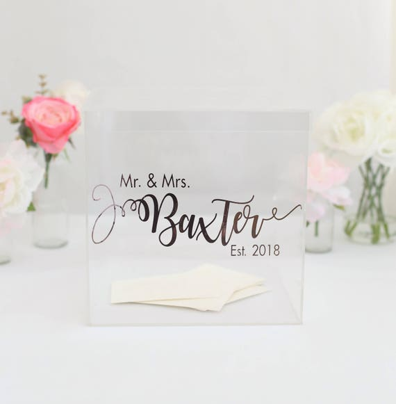 Personalized Wedding Card Box Clear Acrylic Modern Bridal Shower Engagement Party  (BBND201810)