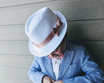 Boy s White Fedora Hat with Rose Gold Band 0e1590594d76