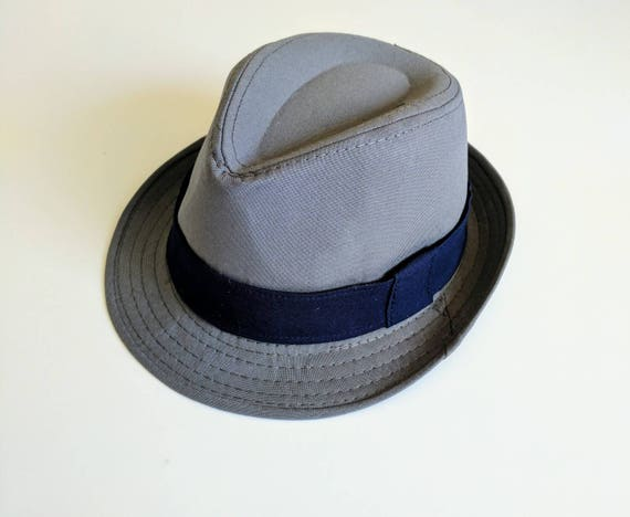 59178961 Toddler boy gray and navy blue fedora hat