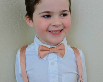 Rose Gold Bowtie and Suspenders. Infant, toddler, boys. 2 weeks before shipment. Rose Gold hardware!