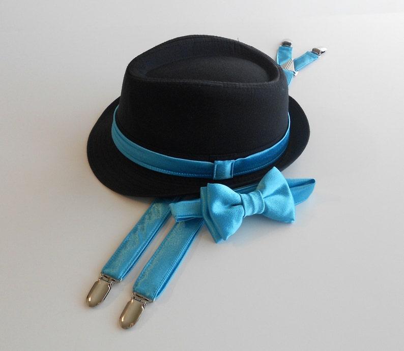322047c64e18 Turquoise Bow tie Blue Bowtie suspenders Black Hat   Etsy