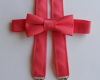 Coral Bowtie and Suspenders Set-Infant, Toddler, Boy                                  2 weeks before shipping