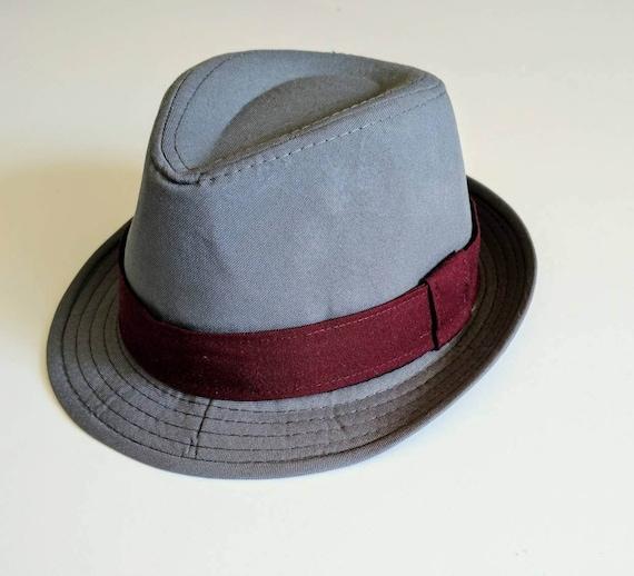 7557aa9b Boy's Gray Fedora Hat with Burgundy Wine Band